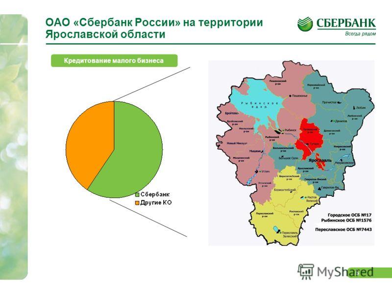 5 ОАО «Сбербанк России» на территории Ярославской области Кредитование малого бизнеса