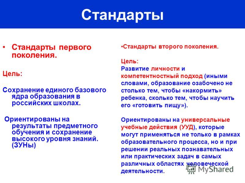 Стандарты Стандарты первого поколения. Цель: Сохранение единого базового ядра образования в российских школах. Ориентированы на результаты предметного обучения и сохранение высокого уровня знаний. (ЗУНы) Стандарты второго поколения. Цель: Развитие ли