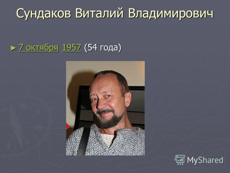 Сундаков Виталий Владимирович 7 октября 1957 (54 года) 7 октября 1957 (54 года) 7 октября1957 7 октября1957