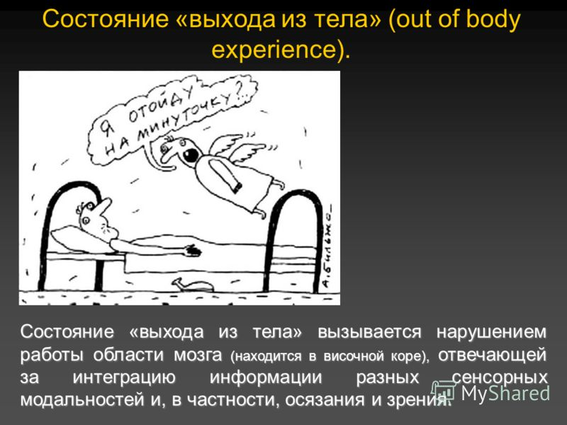 Состояние «выхода из тела» (out of body experience). Состояние «выхода из тела» вызывается нарушением работы области мозга (находится в височной коре), отвечающей за интеграцию информации разных сенсорных модальностей и, в частности, осязания и зрени
