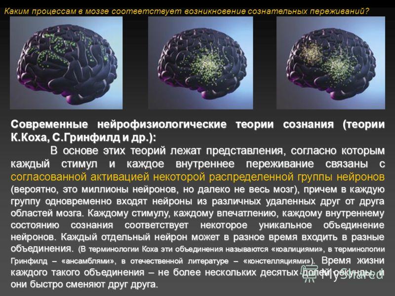 Современные нейрофизиологические теории сознания (теории К.Коха, С.Гринфилд и др.): В основе этих теорий лежат представления, согласно которым каждый стимул и каждое внутреннее переживание связаны с (вероятно, это миллионы нейронов, но далеко не весь
