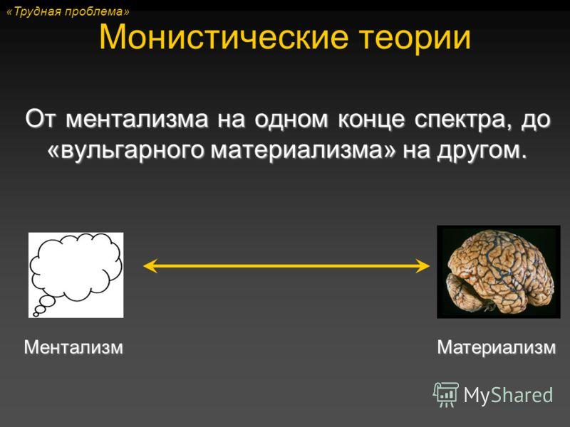 Монистические теории От ментализма на одном конце спектра, до «вульгарного материализма» на другом. МентализмМатериализм «Трудная проблема»