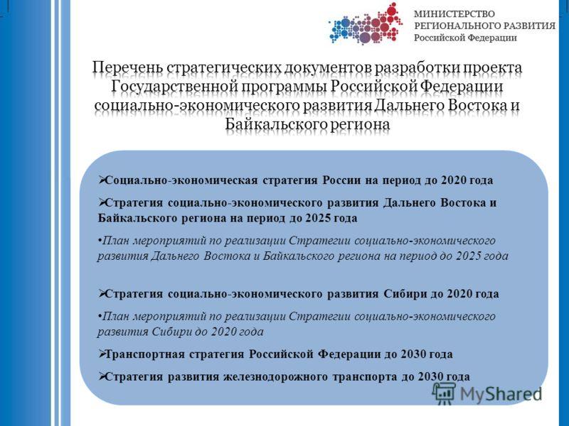 Социально-экономическая стратегия России на период до 2020 года Стратегия социально-экономического развития Дальнего Востока и Байкальского региона на период до 2025 года План мероприятий по реализации Стратегии социально-экономического развития Даль