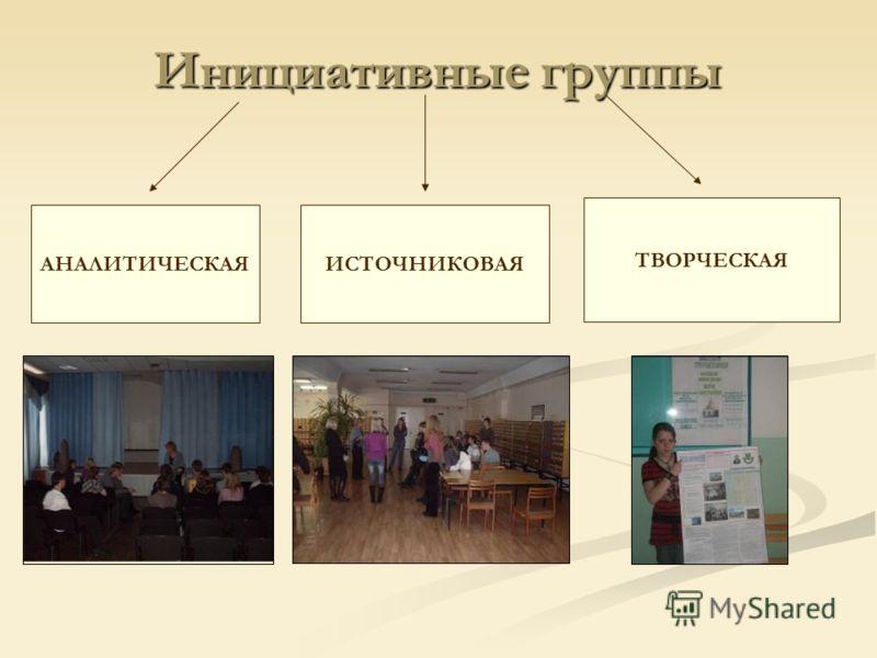 Инициативные группы АНАЛИТИЧЕСКАЯИСТОЧНИКОВАЯ ТВОРЧЕСКАЯ