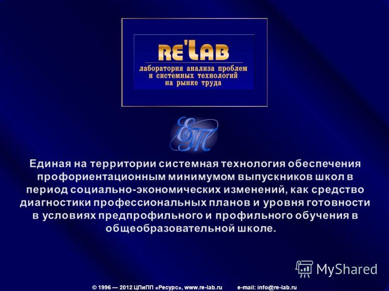 © 1996 2012 ЦПиПП «Ресурс», www.re-lab.ru e-mail: info@re-lab.ru