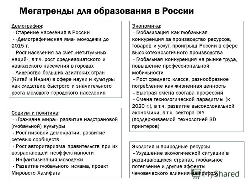 Мегатренды для образования в России Демография: - Старение населения в России - «Демографическая яма» молодежи до 2015 г. - Рост населения за счет «нетитульных наций», в т.ч. рост среднеазиатского и кавказского населения в городах - Лидерство больших
