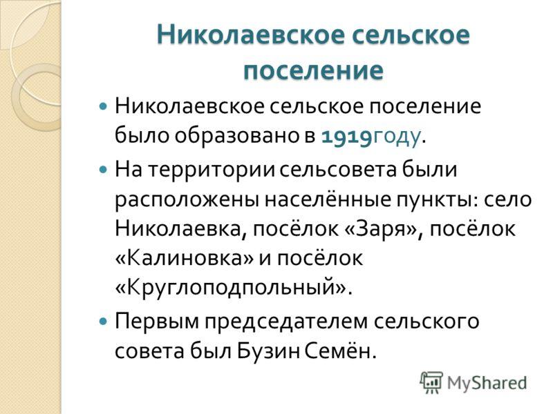 Николаевское сельское поселение Николаевское сельское поселение было образовано в 1919 году. На территории сельсовета были расположены населённые пункты : село Николаевка, посёлок « Заря », посёлок « Калиновка » и посёлок « Круглоподпольный ». Первым