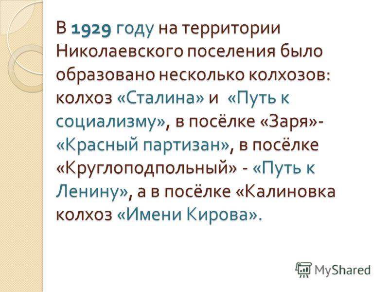 В 1929 году на территории Николаевского поселения было образовано несколько колхозов : колхоз « Сталина » и « Путь к социализму », в посёлке « Заря »-