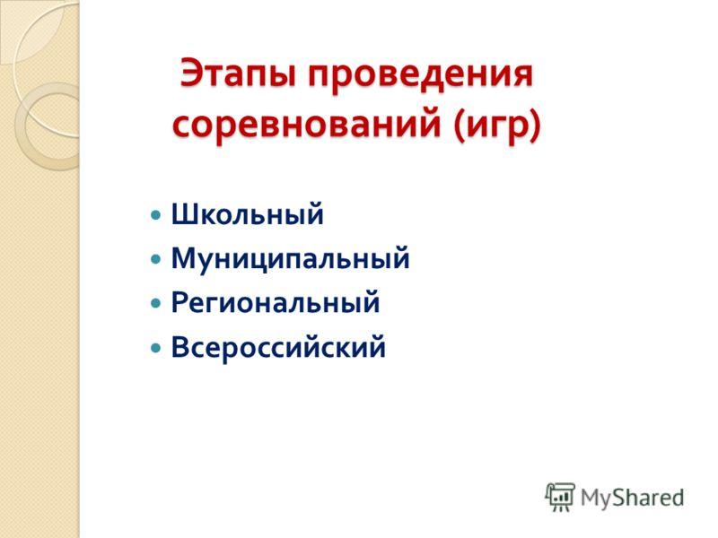 Этапы проведения соревнований ( игр ) Школьный Муниципальный Региональный Всероссийский