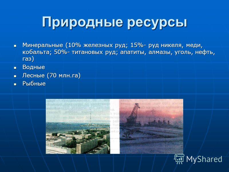 Природные ресурсы Минеральные (10% железных руд; 15%- руд никеля, меди, кобальта; 50%- титановых руд; апатиты, алмазы, уголь, нефть, газ) Минеральные (10% железных руд; 15%- руд никеля, меди, кобальта; 50%- титановых руд; апатиты, алмазы, уголь, нефт