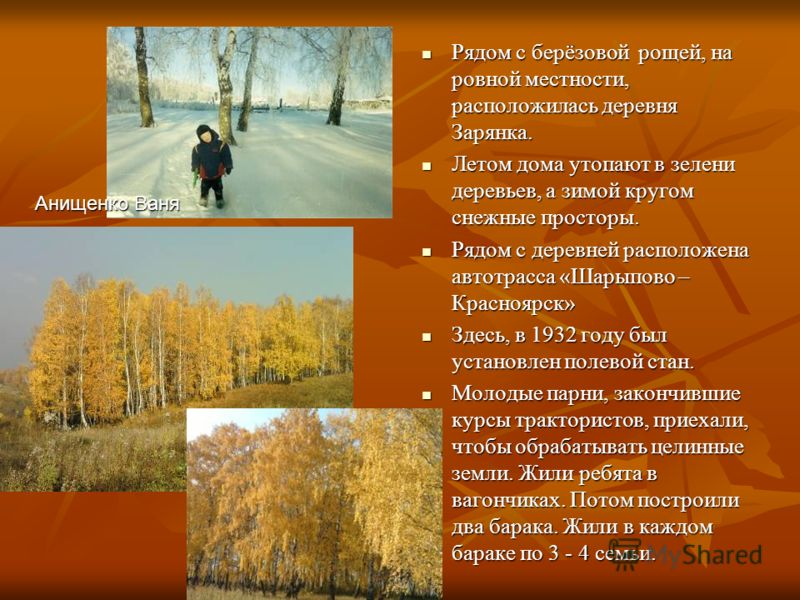 Рядом с берёзовой рощей, на ровной местности, расположилась деревня Зарянка. Рядом с берёзовой рощей, на ровной местности, расположилась деревня Зарянка. Летом дома утопают в зелени деревьев, а зимой кругом снежные просторы. Летом дома утопают в зеле