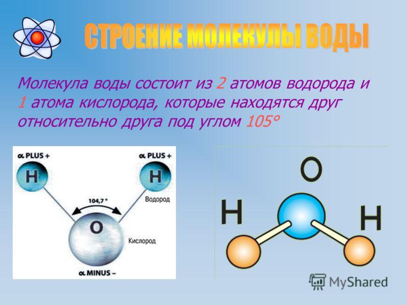 Молекула воды состоит из 2 атомов водорода и 1 атома кислорода, которые находятся друг относительно друга под углом 105°