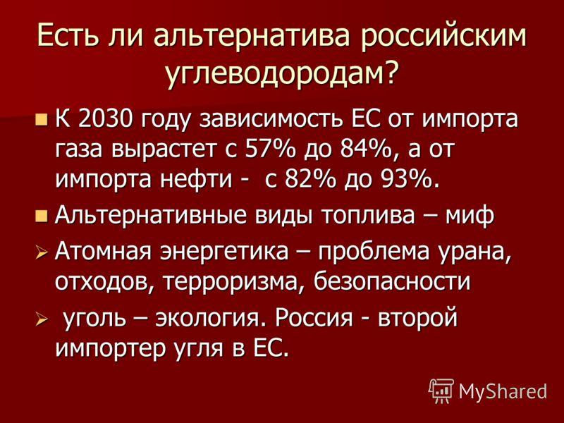 Есть ли альтернатива российским углеводородам? К 2030 году зависимость ЕС от импорта газа вырастет с 57% до 84%, а от импорта нефти - с 82% до 93%. К 2030 году зависимость ЕС от импорта газа вырастет с 57% до 84%, а от импорта нефти - с 82% до 93%. А