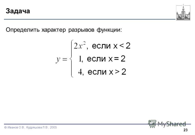23 Иванов О.В., Кудряшова Л.В., 2005 Задача Определить характер разрывов функции: