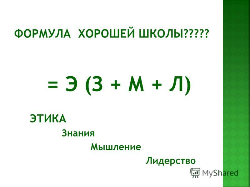= Э (З + М + Л) ЭТИКА Знания Мышление Лидерство