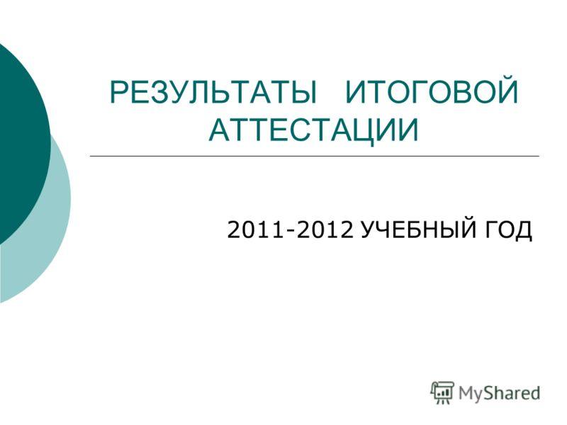 РЕЗУЛЬТАТЫ ИТОГОВОЙ АТТЕСТАЦИИ 2011-2012 УЧЕБНЫЙ ГОД