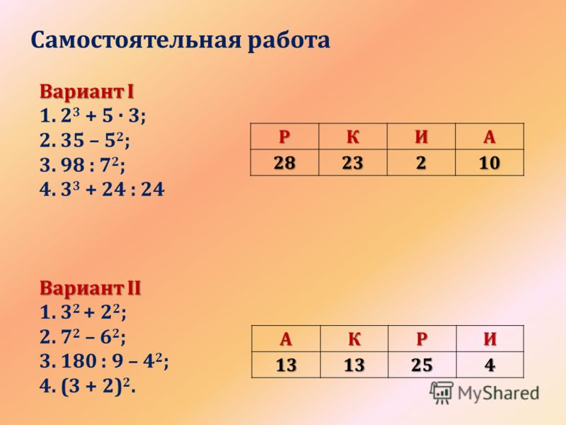 Самостоятельная работаРКИА2823210 АКРИ1313254 Вариант I 1. 2 3 + 5 · 3; 2. 35 – 5 2 ; 3. 98 : 7 2 ; 4. 3 3 + 24 : 24 Вариант II 1. 3 2 + 2 2 ; 2. 7 2 – 6 2 ; 3. 180 : 9 – 4 2 ; 4. (3 + 2) 2.