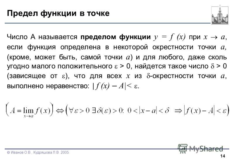 14 Иванов О.В., Кудряшова Л.В. 2005 Предел функции в точке Число А называется пределом функции y = f (x) при x a, если функция определена в некоторой окрестности точки a, (кроме, может быть, самой точки a ) и для любого, даже сколь угодно малого поло