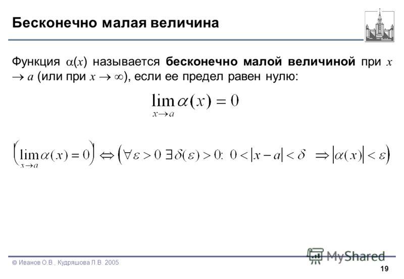 19 Иванов О.В., Кудряшова Л.В. 2005 Бесконечно малая величина Функция ( x ) называется бесконечно малой величиной при x a (или при x ), если ее предел равен нулю: