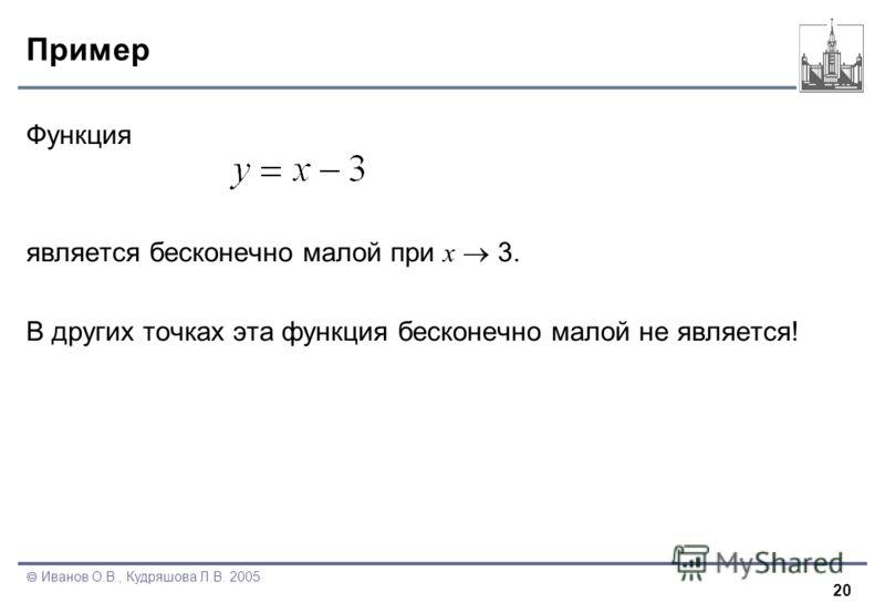 20 Иванов О.В., Кудряшова Л.В. 2005 Пример Функция является бесконечно малой при x 3. В других точках эта функция бесконечно малой не является!