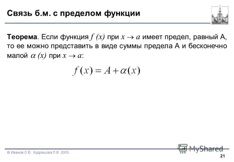 21 Иванов О.В., Кудряшова Л.В. 2005 Связь б.м. с пределом функции Теорема. Если функция f (x) при x a имеет предел, равный А, то ее можно представить в виде суммы предела A и бесконечно малой (x) при x a :