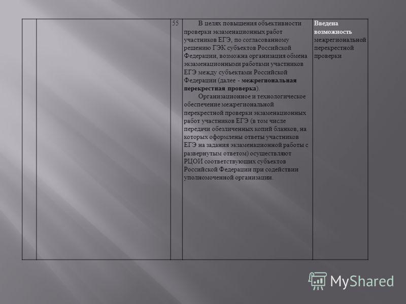 55В целях повышения объективности проверки экзаменационных работ участников ЕГЭ, по согласованному решению ГЭК субъектов Российской Федерации, возможна организация обмена экзаменационными работами участников ЕГЭ между субъектами Российской Федерации