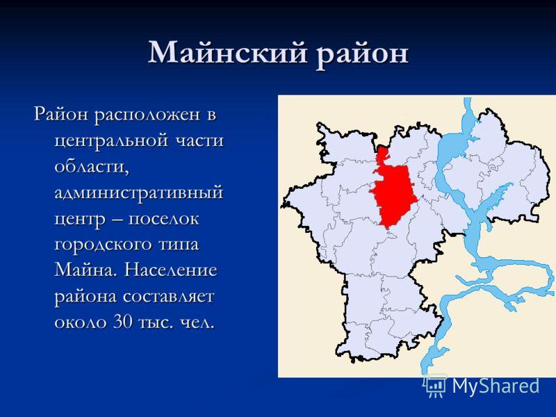 Майнский район Район расположен в центральной части области, административный центр – поселок городского типа Майна. Население района составляет около 30 тыс. чел.