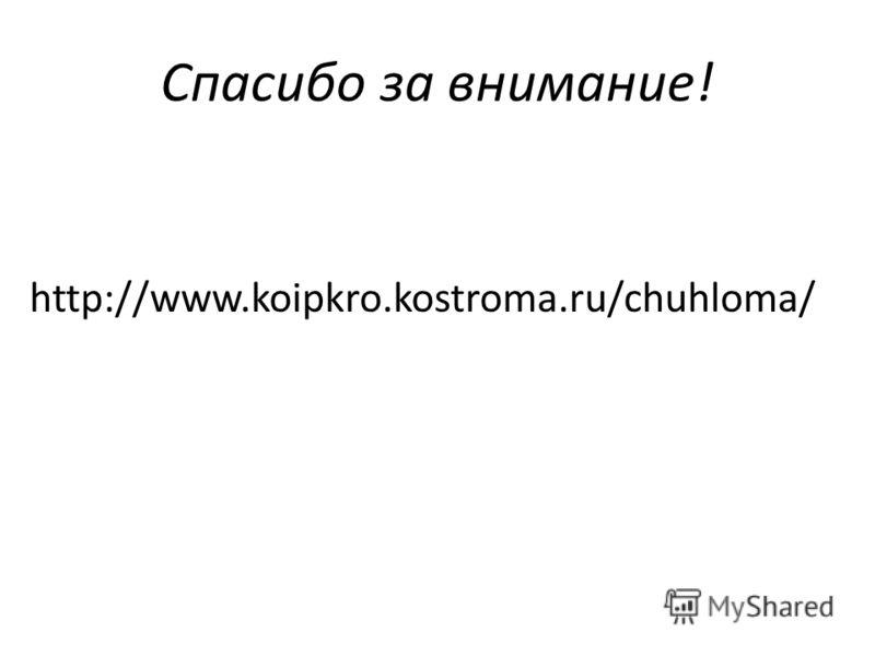 Спасибо за внимание! http://www.koipkro.kostroma.ru/chuhloma/