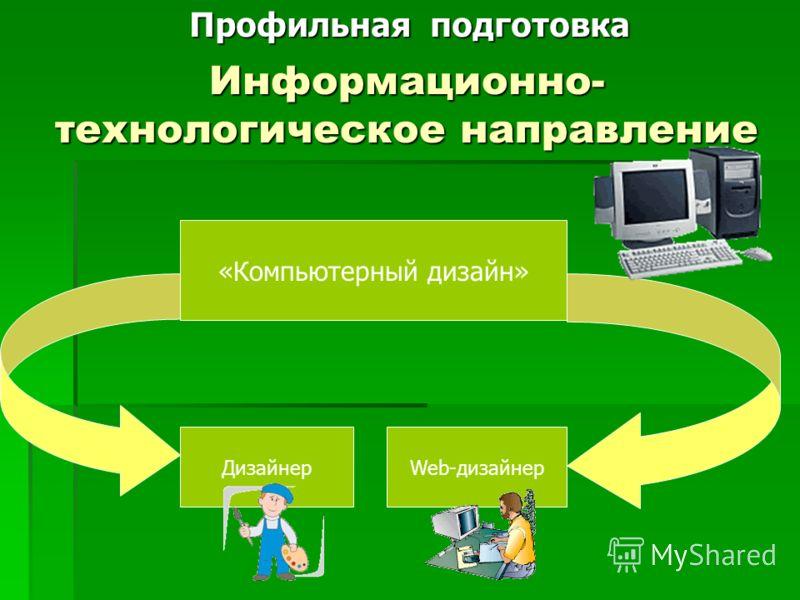 Информационно- технологическое направление «Компьютерный дизайн» Web-дизайнерДизайнер Профильная подготовка