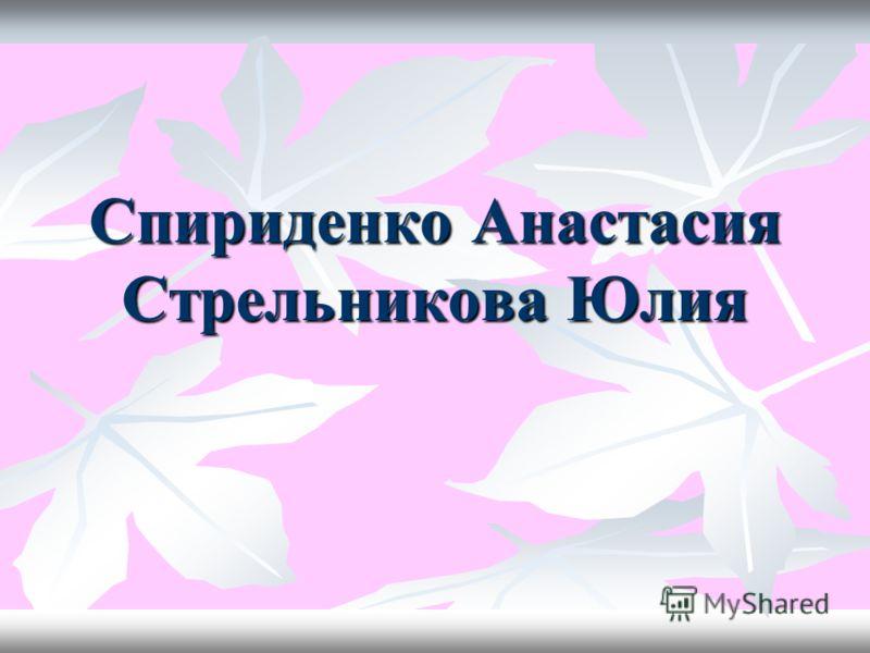 Спириденко Анастасия Стрельникова Юлия