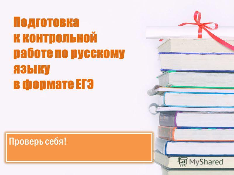 Подготовка к контрольной работе по русскому языку в формате ЕГЭ Проверь себя!