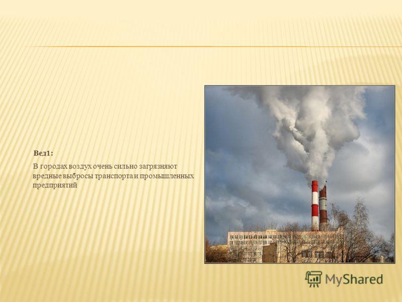 Вед1: В городах воздух очень сильно загрязняют вредные выбросы транспорта и промышленных предприятий