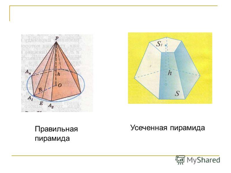 Правильная пирамида Усеченная пирамида