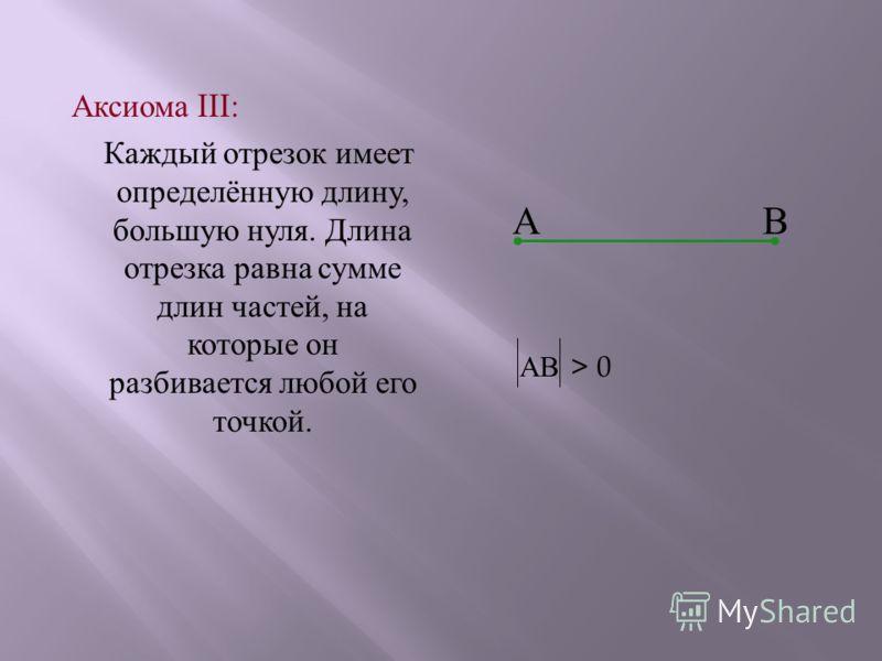 А ксиома III: К аждый о трезок и меет определённую д лину, большую н уля. Д лина отрезка р авна с умме длин ч астей, н а которые о н разбивается л юбой е го точкой. АВ АВ > 0