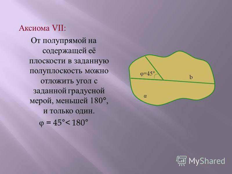 А ксиома VII: От п олупрямой н а содержащей е ё плоскости в з аданную полуплоскость м ожно отложить у гол с заданной г радусной мерой, м еньшей 180°, и т олько о дин. φ = 45°< 180° α b φ=45°φ=45°