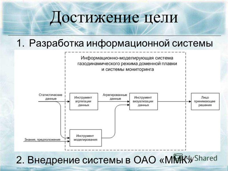 Достижение цели 1.Разработка информационной системы 2. Внедрение системы в ОАО «ММК»