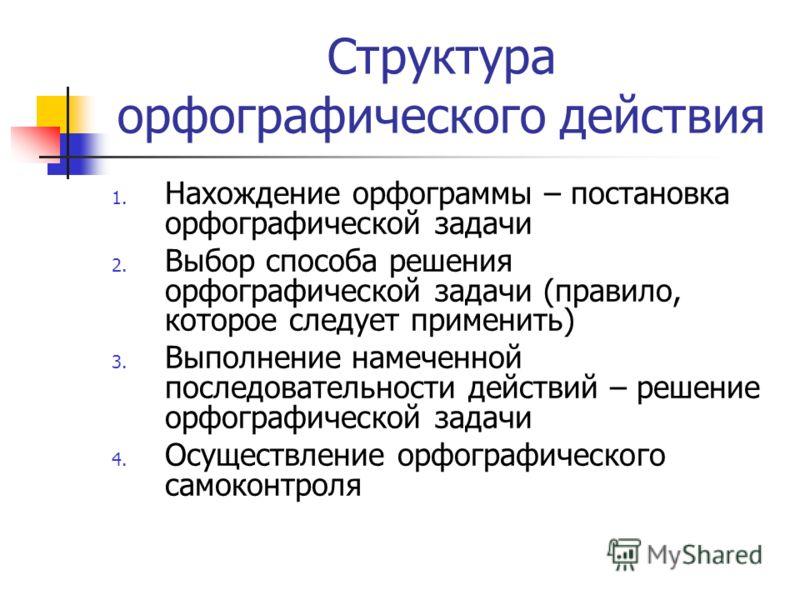 Структура орфографического действия 1. Нахождение орфограммы – постановка орфографической задачи 2. Выбор способа решения орфографической задачи (правило, которое следует применить) 3. Выполнение намеченной последовательности действий – решение орфог