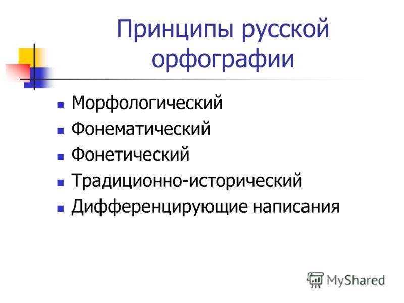 Принципы русской орфографии Морфологический Фонематический Фонетический Традиционно-исторический Дифференцирующие написания