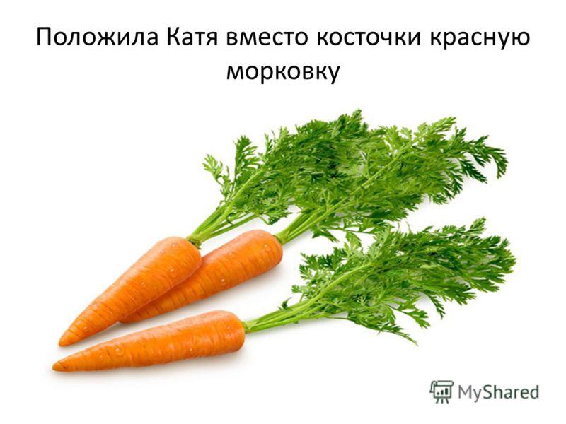 Положила Катя вместо косточки красную морковку