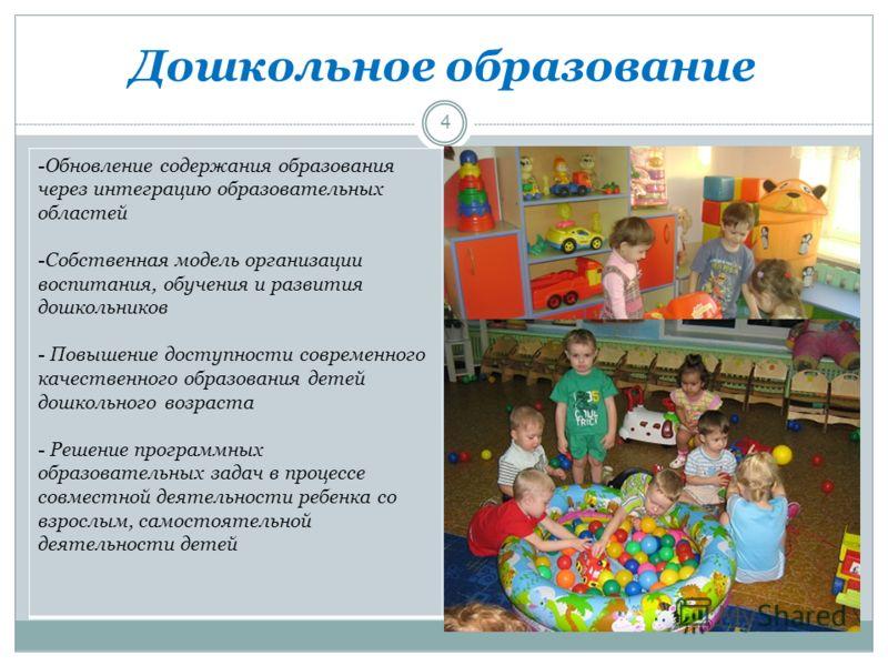 Дошкольное образование -Обновление содержания образования через интеграцию образовательных областей -Собственная модель организации воспитания, обучения и развития дошкольников - Повышение доступности современного качественного образования детей дошк