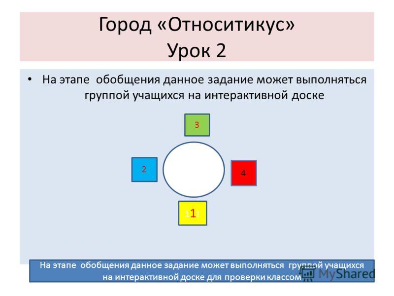 Город «Относитикус» Урок 2 На этапе обобщения данное задание может выполняться группой учащихся на интерактивной доске 2 3 4 11!11! На этапе обобщения данное задание может выполняться группой учащихся на интерактивной доске для проверки классом