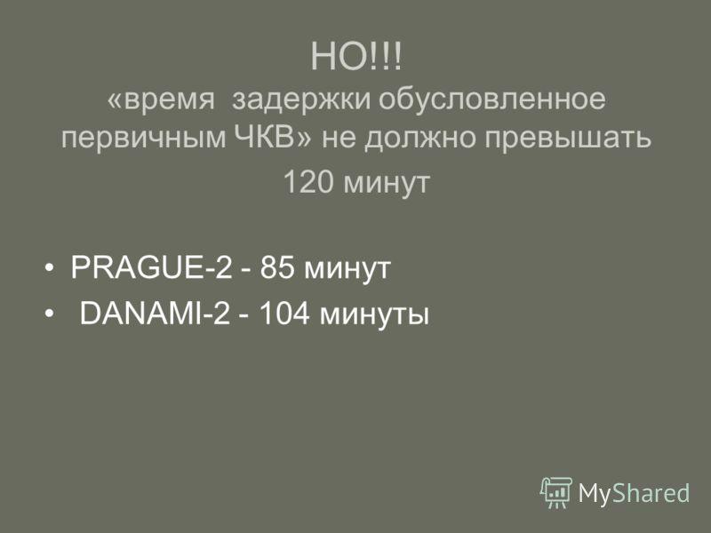 НО!!! «время задержки обусловленное первичным ЧКВ» не должно превышать 120 минут PRAGUE-2 - 85 минут DANAMI-2 - 104 минуты