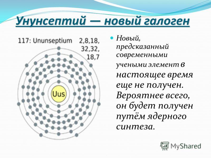 Унунсептий новый галоген Новый, предсказанный современными учеными элемент в настоящее время еще не получен. Вероятнее всего, он будет получен путём ядерного синтеза.