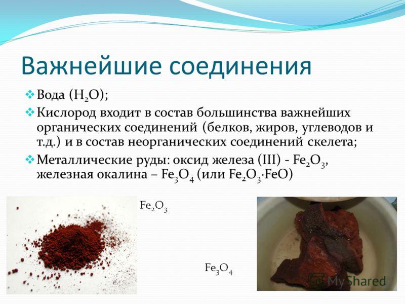 Важнейшие соединения Вода (H 2 O); Кислород входит в состав большинства важнейших органических соединений (белков, жиров, углеводов и т.д.) и в состав неорганических соединений скелета; Металлические руды: оксид железа (III) - Fe 2 O 3, железная окал