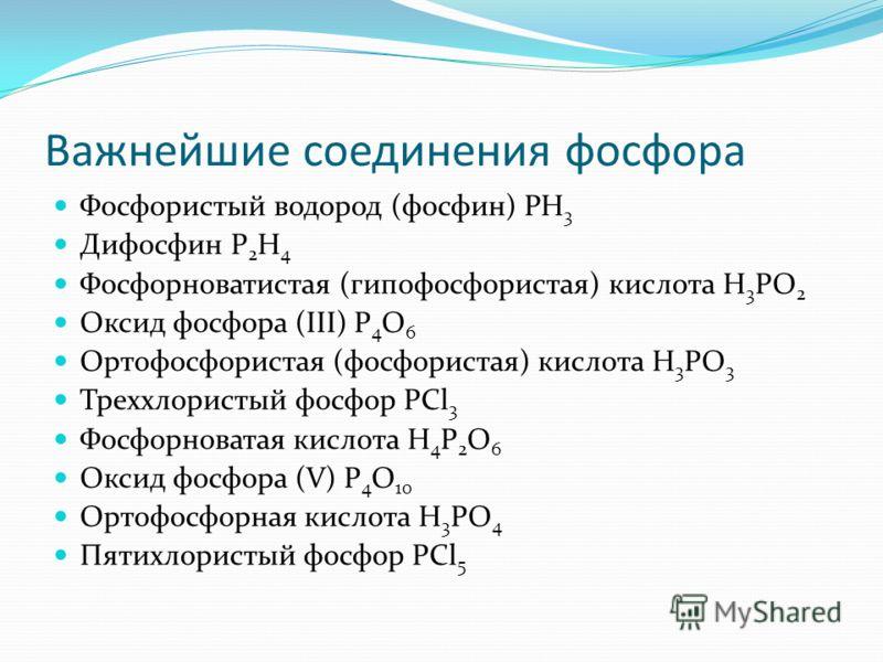 Важнейшие соединения фосфора Фосфористый водород (фосфин) PH 3 Дифосфин P 2 H 4 Фосфорноватистая (гипофосфористая) кислота H 3 PO 2 Оксид фосфора (III) P 4 O 6 Ортофосфористая (фосфористая) кислота H 3 PO 3 Треххлористый фосфор PCl 3 Фосфорноватая ки