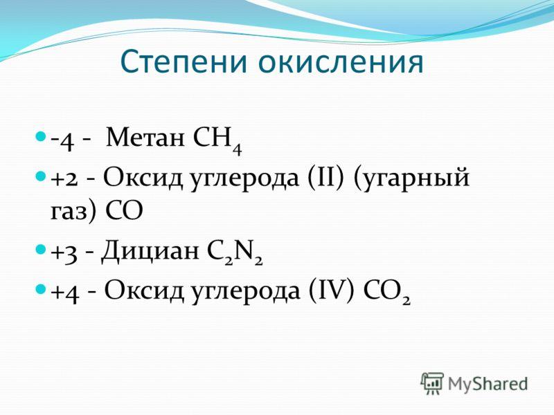 Степени окисления -4 - Метан CH 4 +2 - Оксид углерода (II) (угарный газ) CO +3 - Дициан C 2 N 2 +4 - Оксид углерода (IV) CO 2