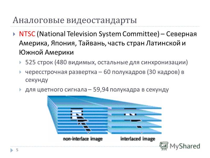 Аналоговые видеостандарты NTSC (National Television System Committee) – Северная Америка, Япония, Тайвань, часть стран Латинской и Южной Америки 525 строк (480 видимых, остальные для синхронизации ) чересстрочная развертка – 60 полукадров (30 кадров