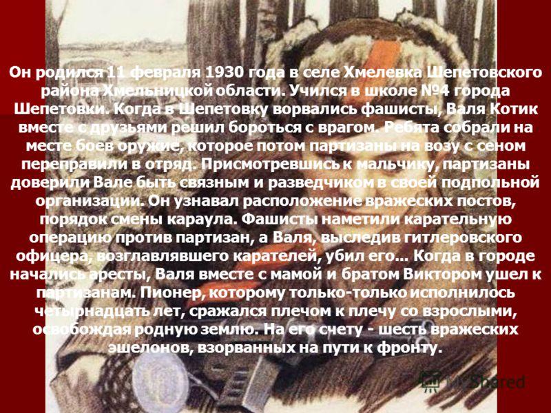 Валя Котик Он родился 11 февраля 1930 года в селе Хмелевка Шепетовского района Хмельницкой области. Учился в школе 4 города Шепетовки. Когда в Шепетовку ворвались фашисты, Валя Котик вместе с друзьями решил бороться с врагом. Ребята собрали на месте