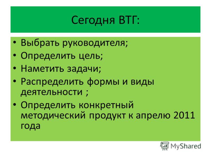 Сегодня ВТГ: Выбрать руководителя; Определить цель; Наметить задачи; Распределить формы и виды деятельности ; Определить конкретный методический продукт к апрелю 2011 года