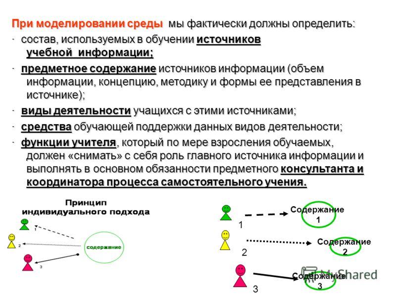 При моделировании среды мы фактически должны определить: · состав, используемых в обучении источников учебной информации; · предметное содержание источников информации (объем информации, концепцию, методику и формы ее представления в источнике); · ви